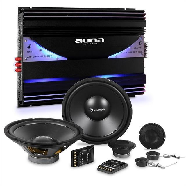ELECTRONIC STAR auna CS-Comp-10 Set complet HiFi tuning voiture enceintes amplificateur 6 canaux Electronic-Star