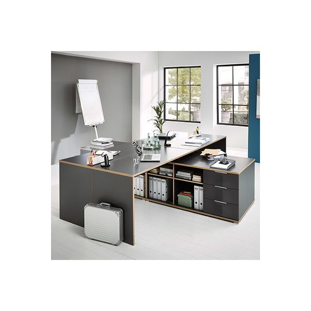 Bureau 145x60cm + rangement 145x75x145cm - décor anthracite