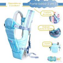 Bebe Lol - Porte bébé dorsal ,ventral ou echarpe 5 positions de transport bleu Bébélol