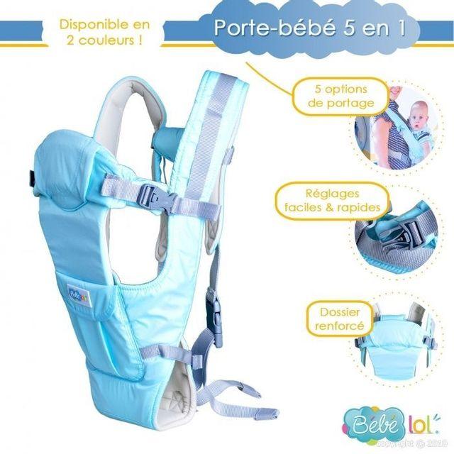 Bebe Lol - Porte bébé dorsal ,ventral ou echarpe 5 positions de transport  bleu Bébélol eaeee656b42