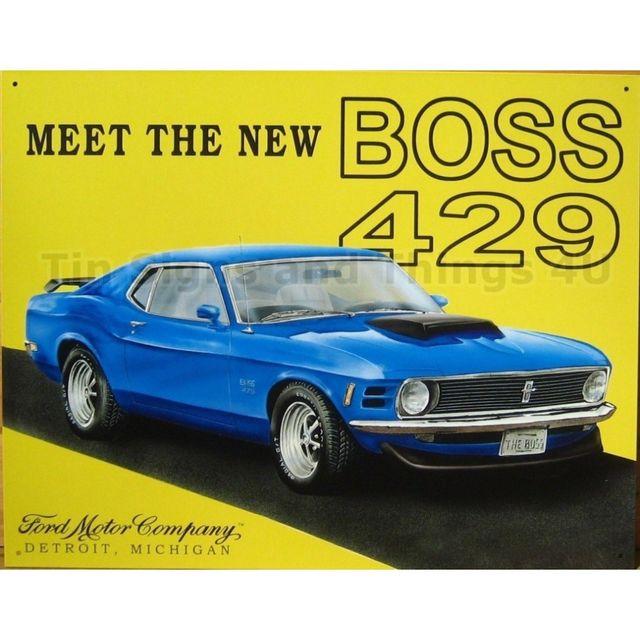 Universel Plaque ford mustang boss 429 bleu tole publicitaire métal