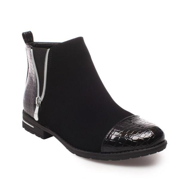 44b84f451f67 Lamodeuse - Chelsea Boots bi-matière Mael noir - pas cher Achat ...