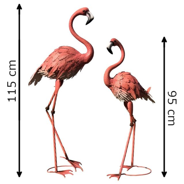L'ORIGINALE Deco Animaux Décoration Métal Oiseau Flamant Rose de Déco Jardin Fer Héron Grue Ibis