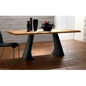 inside 75 arcade table repas en ch ne naturel pi tement en m tal anthracite pas cher achat. Black Bedroom Furniture Sets. Home Design Ideas