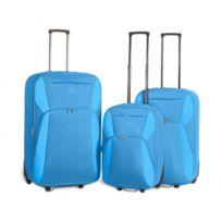 Kinston - Bagage Lot de 3 Valises - Tissu - Extensible - Bleu Ciel