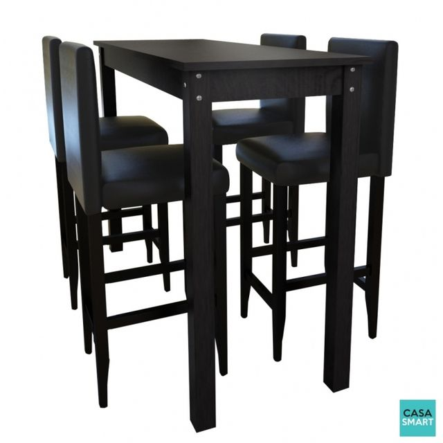 Casasmart Table haute 115 x 55 cm + 4 tabourets noir