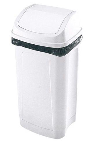 Poubelle plastique 25 litres rectangle à couvercle basculant blanche