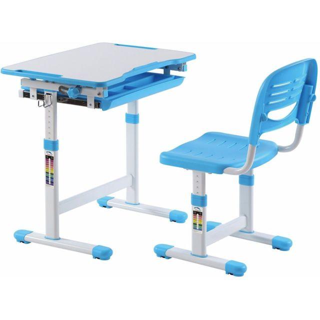 Ensemble Coloris Inclinable Chaise Bleu Enfant Réglable Hauteur Pour En Bureau Et C Rocher Plateau Avec 435jLRA