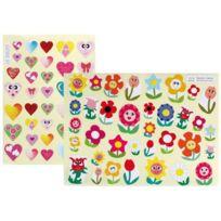 Gribouill'ART - gommettes illustrées coeurs et fleurs - pochette de 432