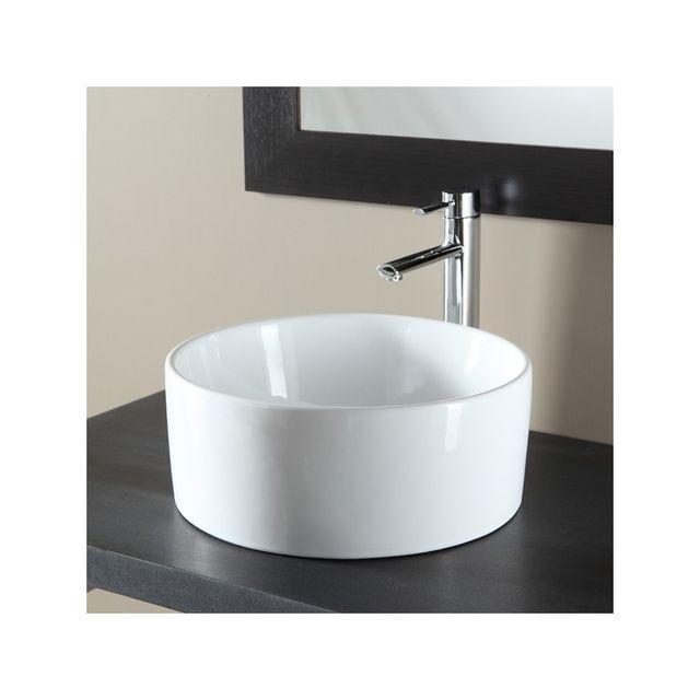 planetebain soldes vasque poser ronde en c ramique blanc blanc planete bain pas cher achat. Black Bedroom Furniture Sets. Home Design Ideas