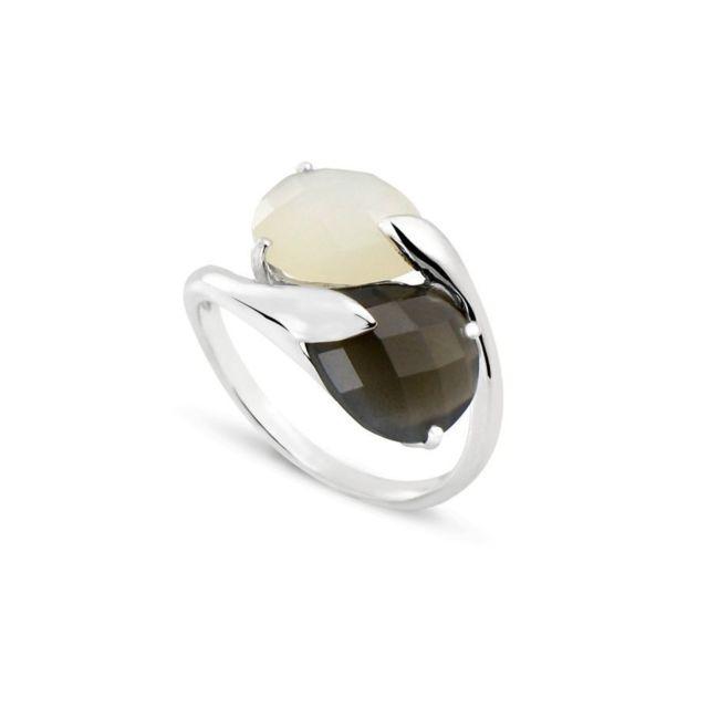 Tousmesbijoux Bague poire double Or blanc 750/00 et pierres de lune blanche et noire
