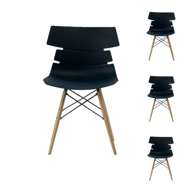 tousmesmeubles quatuor de chaises noires siry pas cher achat vente chaises rueducommerce. Black Bedroom Furniture Sets. Home Design Ideas