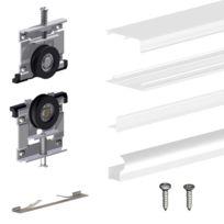 Kit Slid Up 220 Aluminium Blanc Pour 2 Portes De Placard Coulissantes 18 Mm Rail 1 8 M 70 Kg