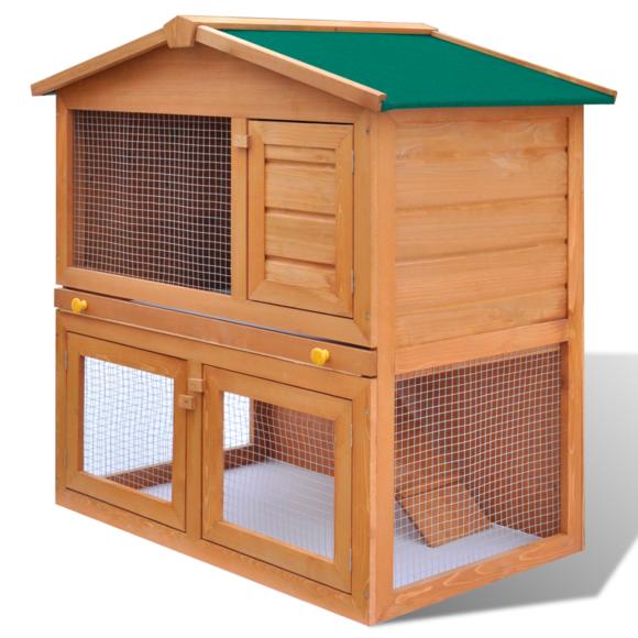 Rocambolesk - Superbe Cage Clapier Extérieur en Bois pour Lapins 3 Portes Neuf