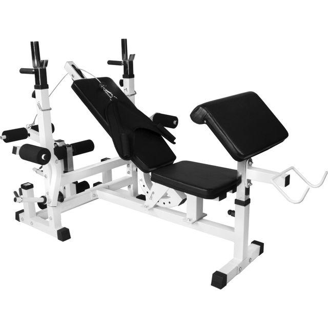 GORILLA SPORTS - Banc de musculation universel avec support pour haltères Blanc Gs005