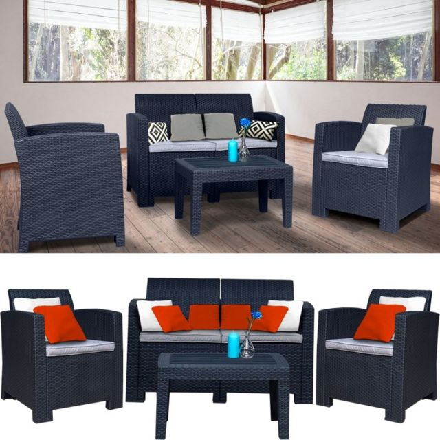idmarket salon de jardin california 4 places confort. Black Bedroom Furniture Sets. Home Design Ideas