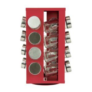 salt pepper porte pices tournant 16 pots en verre soho rouge pas cher achat vente. Black Bedroom Furniture Sets. Home Design Ideas