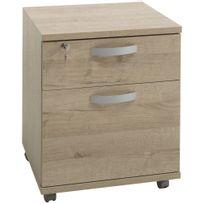 COMFORIUM - Caisson à roulettes avec 2 tiroirs pour bureau coloris chêne