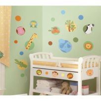 Thedecofactory - Stickers Polka Animaux De La Jungle Roommates Repositionnables 24 stickers