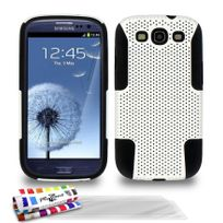 """Muzzano - Coque Rigide Ultra-Slim """"Alveolia Cross Premium"""" Blanc et noir pour Samsung Galaxy S3 / I9300 + 3 Films de protection ?cran"""