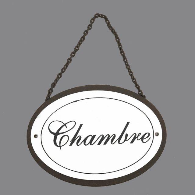 L\'ORIGINALE Deco - Grande Plaque de Porte Chambre en Fer Ovale Blanc ...