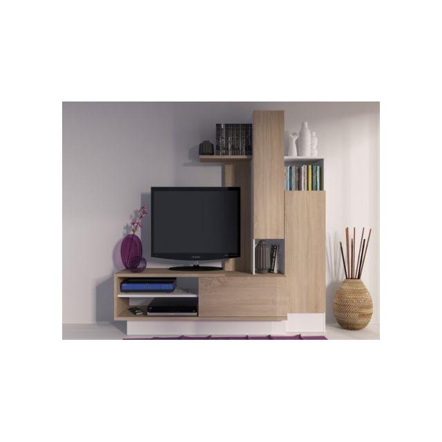 marque generique mur tv balinto avec rangements ch ne blanc pas cher achat vente. Black Bedroom Furniture Sets. Home Design Ideas