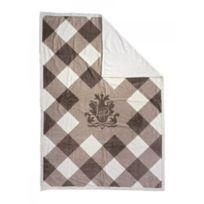 Lodger - Dmc010 - Couverture À Carreaux - Camel Blanc - 100% Coton - Pour Lit À Barreaux