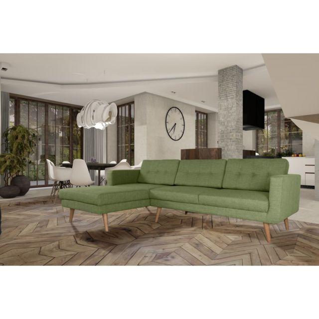 Rocambolesk Canapé Hedvig angle gauche L3 savana vert 08 pieds naturels sofa divan