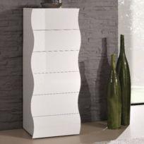 Inside 75 - Chiffonnier Vague 6 tiroirs blanc brillant