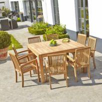 Table de jardin en bois de teck carrée 6 à 8 places