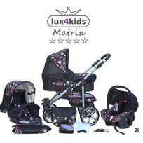 LUX4KIDS - Matrix 2 Poussette Trio Nacelle Siège Auto Poussette Canne Parasol 20 noir & cercles colorés