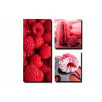 Declikdeco - Tableau Triptyque Gourmand Fruits Rouges 40 x 80 cm et 35 x 35 cm