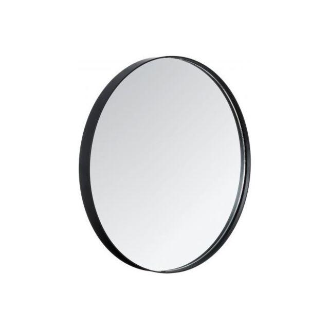 Declikdeco Grand miroir rond avec contour noir Subtile pas cher