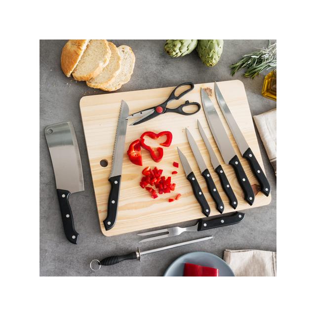 Auto-hightech kit Couteaux avec Aiguiseur et Table en Bois 11 pièces