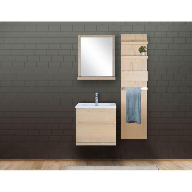 Ensemble Salle De Bain Chêne 60 Cm Meuble + Vasque + Miroir + Module  Rangement Enio