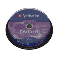 VERBATIM - DVD+R Vierge 16X 4.7 Go, DataLife Plus - Lot de 10 - Spindle - Taxe Sacem incluse
