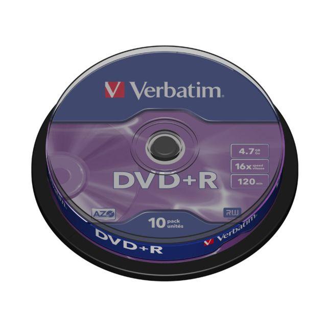 VERBATIM DVD+R Vierge 16X 4.7 Go, DataLife Plus - Lot de 10 - Spindle - Taxe Sacem incluse Spindle de 10 DVD+R DataLifePlus - 16x - 4.7Go (120min)Taxe Sacem incluse.