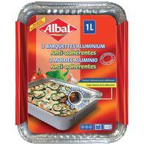 Albal - Barquette alu anti-adhérente 1l Plate x3