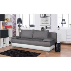 aucune clyde banquette clic clac en simili et tissu microfibre 3 places 187x76x94 cm gris. Black Bedroom Furniture Sets. Home Design Ideas