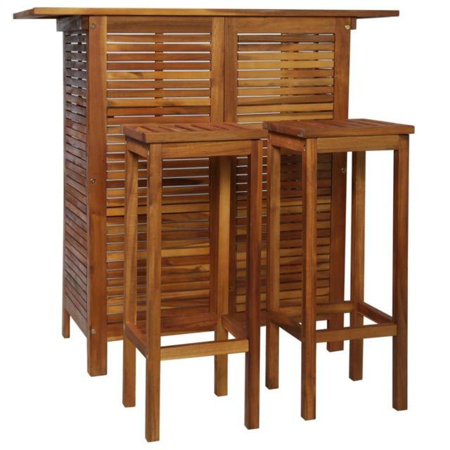 Vidaxl Bois d'Acacia Massif Table Chaises de Bar 3 pcs Bistrot Salle à Manger