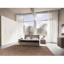Mennza - Chambre adulte complète Ginger chêne gris et blanc C30151GB+C