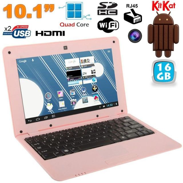 Yonis Mini Pc Android 4.4 Netbook Ultra portable 10 pouces WiFi 16Go Rose