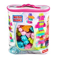 MEGA BLOKS - Sac medium rose - 60 pièces - DCH54