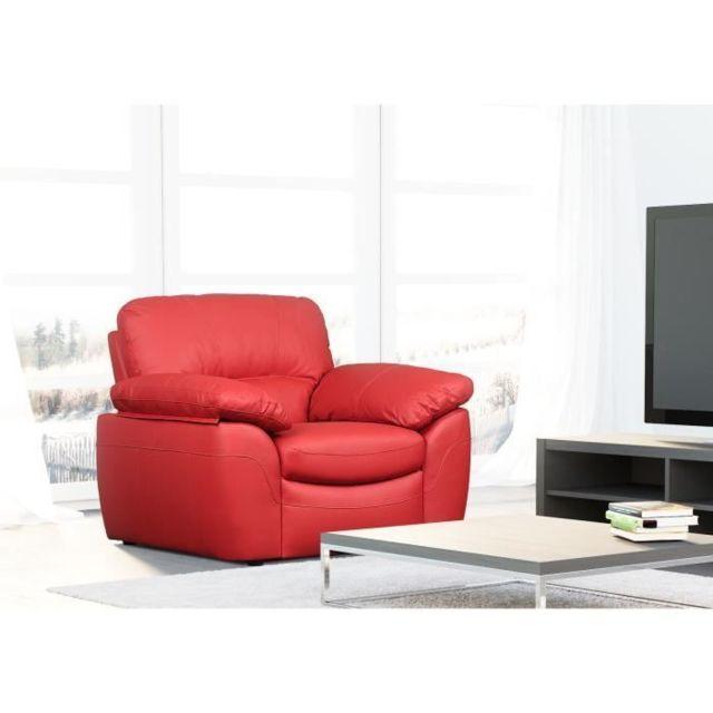 CANAPE - SOFA - DIVAN ELVIS Fauteuil fixe - Cuir de vachette et PU rouge - Style contemporain - L 110 x P 97 cm