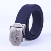326fbb0e2dd2 Wewoo - Ceinture bleu foncé Hommes Couteau Flèche Modèle Lisse Boucle  Placage Brossé Mode Toile Jeans