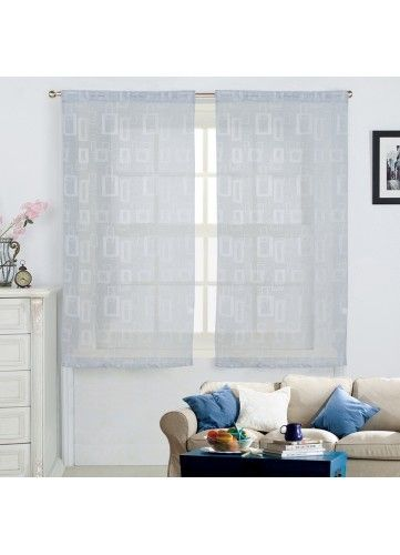 homemaison paire de voilages motifs g om triques gris pas cher achat vente voilage. Black Bedroom Furniture Sets. Home Design Ideas