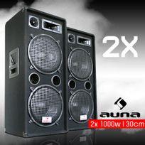 """MALONE - PW-2222 Pack d'enceintes sono système 3 voies 2x 30cm 12"""" 2000w max"""