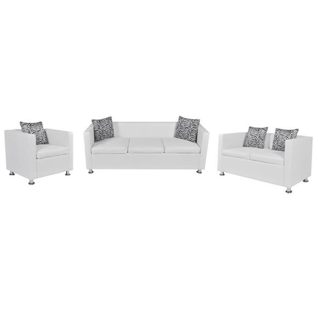 Vidaxl Set canapé 3 places 2 et Fauteuil cube en cuir artificiel blanc