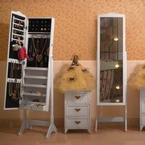Rocambolesk - Superbe Armoire à bijoux Rangement avec Miroir et clés Blanc, Jbc82W neuf