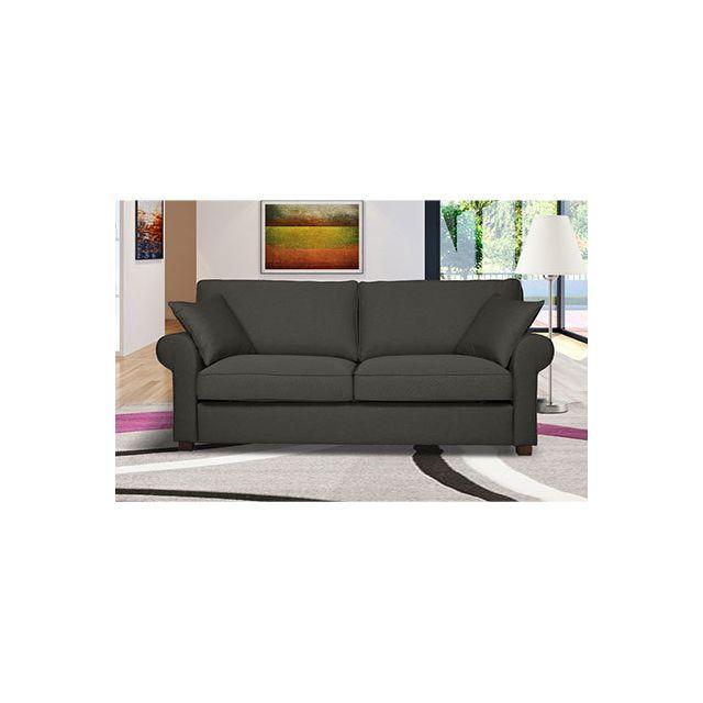 Canapé 3 places fixe en tissu gris - Gabriel